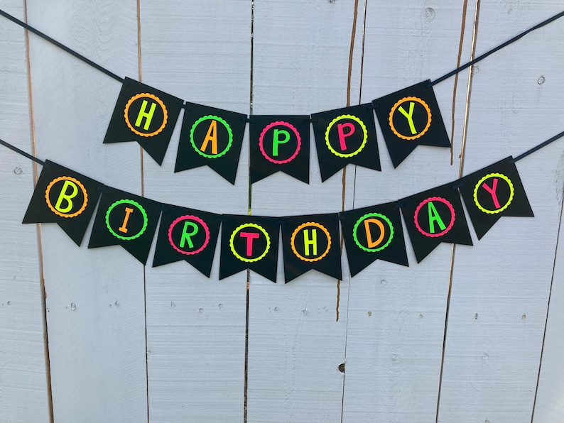 Neon Birthday Banner Glow Party Banner 80s Birthday Party image 0
