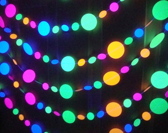 UV Reflective Garlands for Glow Party, Amazing Glow Party, Fluorescent Neon Circle Garlands, Prom Glow Party, Sweet 16 Glow Party