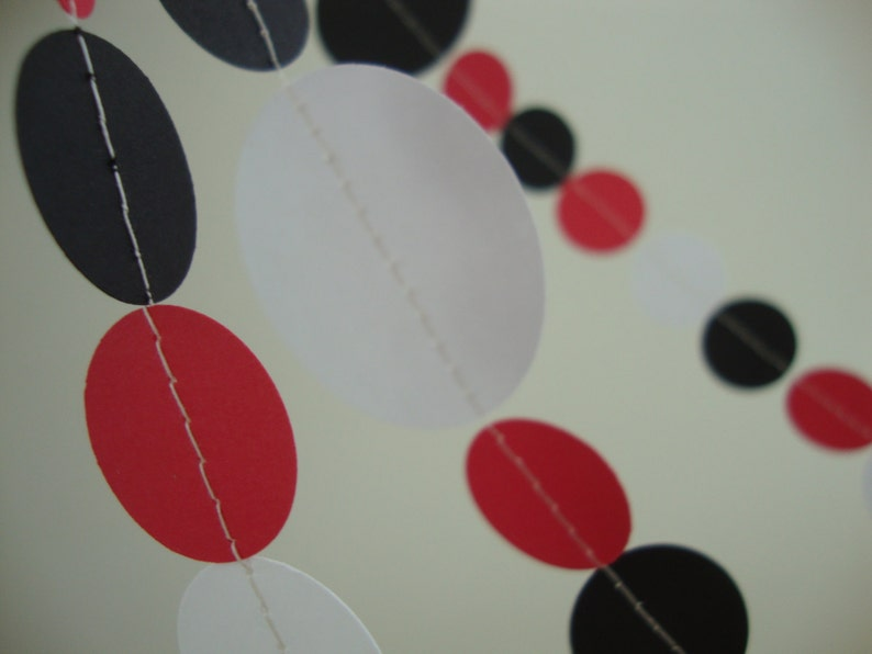 and Black Garland for Graduation Birthday Ladybug Theme Party or Use Custom Colors White Red