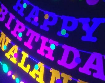 Glow Party Birthday Banner, Neon fluorescent birthday banner with garlands, UV Reflective Birthday Banner, Glow Party Decor