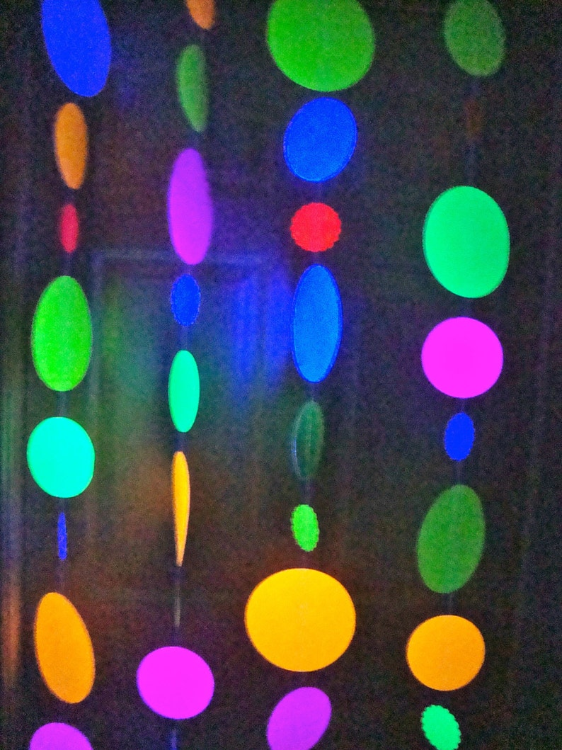 Black Light Party Garland Large Glow Garland Sweet 16 Glow Party Hanging Circle Glow Party Decor Jumbo Glow Party Decoration Neon Dance