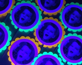 Glow Party Decorations / Black light/neon party tags and cupcake toppers