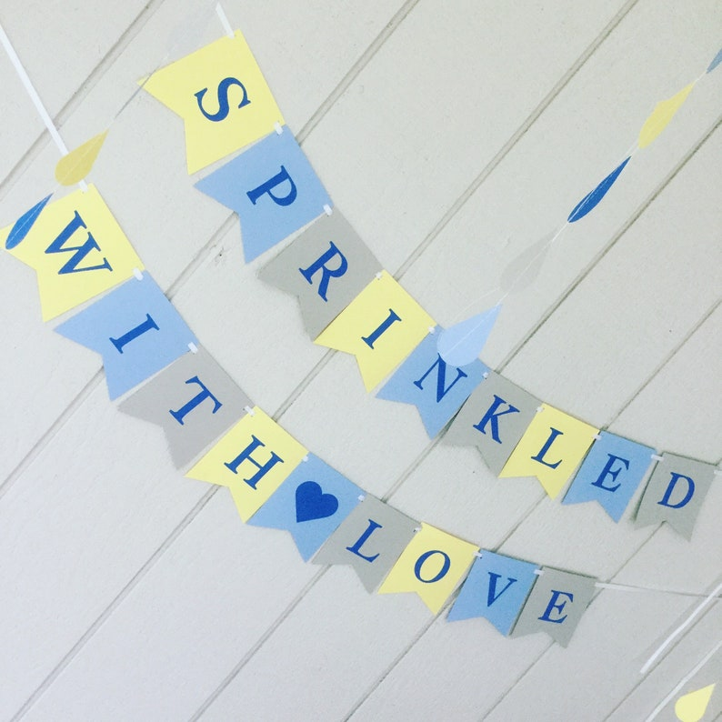 Sprinkled With Love Baby Shower Banner Blue Gray and Yellow image 0