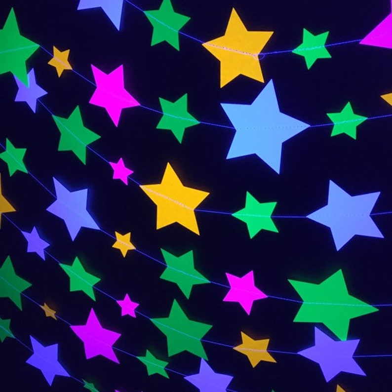 Glow Party Neon Star Garlands Glowing Stars Star Decoration image 0