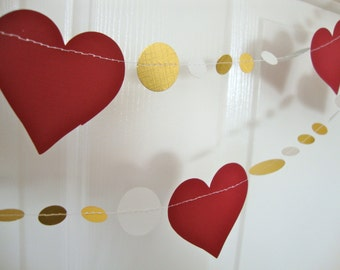 Red and gold heart Valentine's Day garland