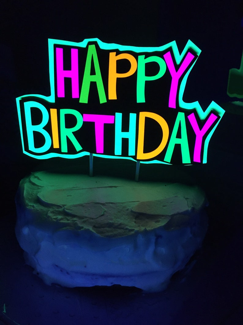 Glow Party Cake Topper Neon Birthday Cake Topper image 0