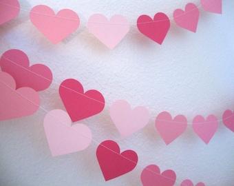 Valentine's day pink heart three-strand garland