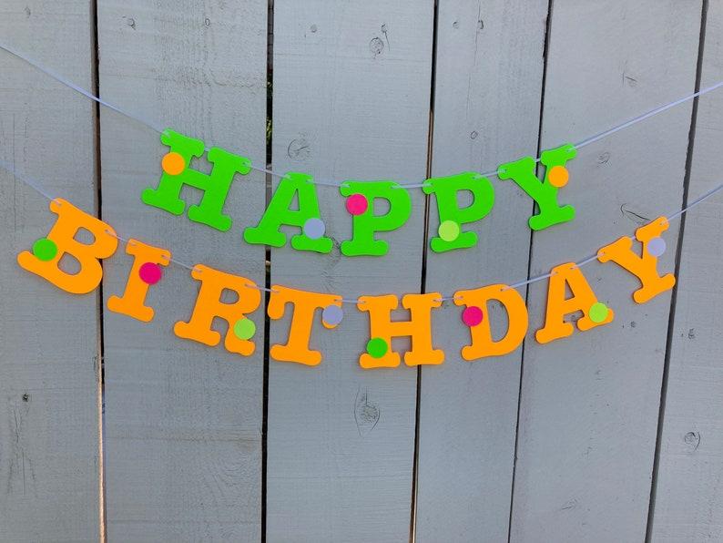 Glow Party Birthday Banner Neon fluorescent birthday banner image 0