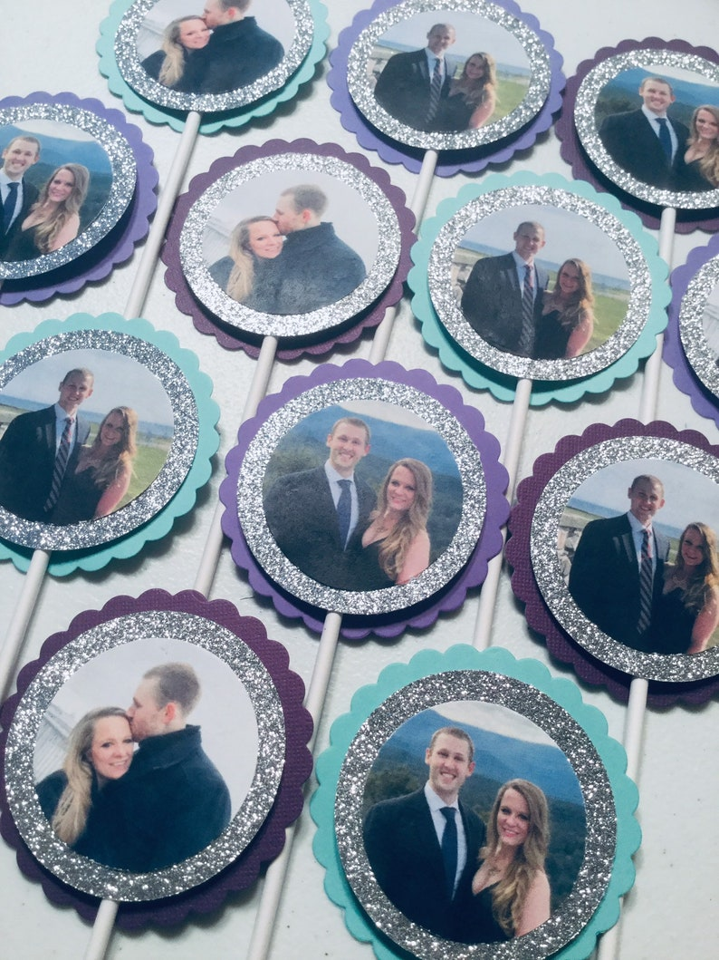 Custom picture cupcake toppers with glitter photo cupcake image 0