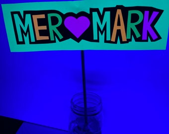 Glow Party Centerpiece, Neon Table Centerpiece, Personalized Glow Decor, UV Reflective Glow Party Decoration, Fluorescent Neon Table Sign