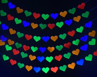 Neon Heart Garland, Glow Party Decoration, 80s Party Decor, Fluorescent Hearts, UV Reflective Hearts, Sweet 16 Glow Party, Neon Dance Party