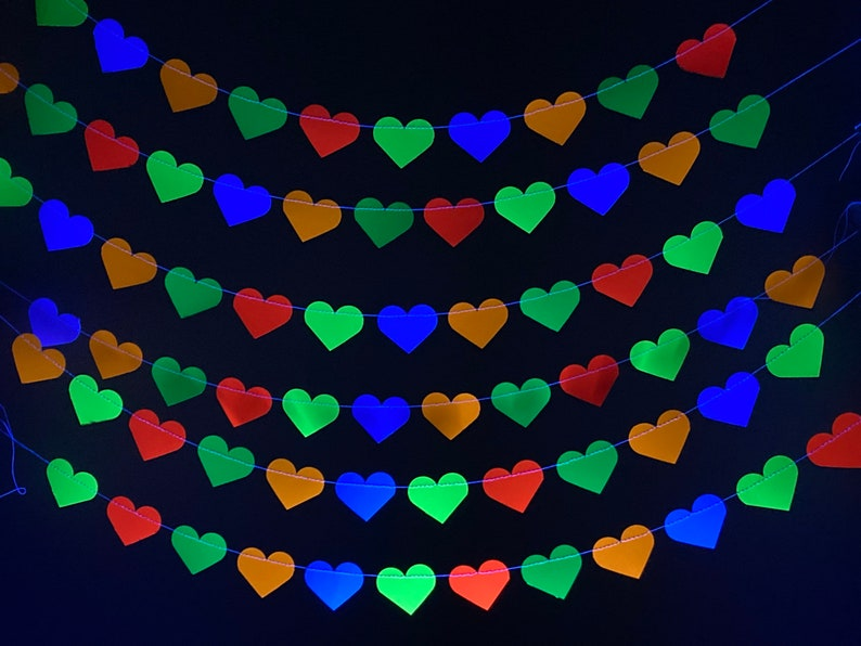 Neon Heart Garland Glow Party Decoration 80s Party Decor image 0