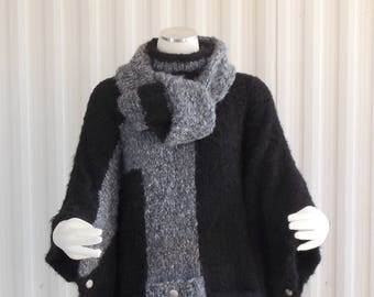 Hand Knit Poncho Black, Cape, Black and Grey Poncho Plus Size OOAK One Size Fits Most