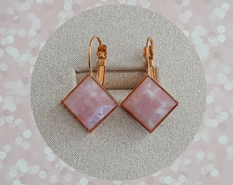 Mid Century Style Pink and White Faceted Cabochon Earring Set in Goldtone Metal French Lever Setting Pretty Cool in Pink