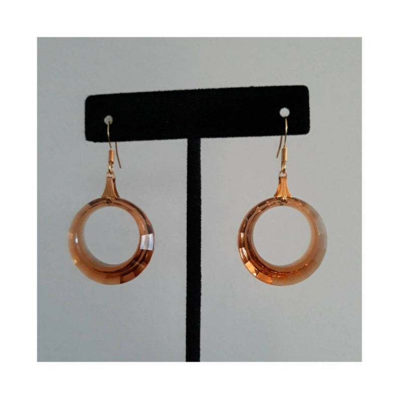 Multi Faceted Mid Mod Hoop Charm Earring Set Handmade with Atomic Style Holy Smokes It/'s Smokey Topaz