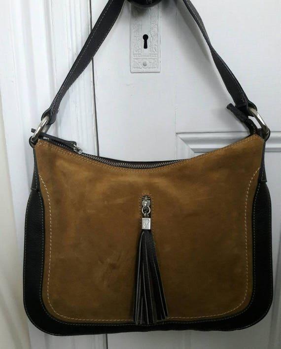 Vintage Chocolate Leather   Suede Slouchy Hobo Bag Made in  b0283fef0d2a5
