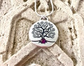 February Birth Month Celtic Silver TREE of LIFE Necklace, Amethyst Necklace,February Swarvoski Necklace