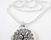 CELTIC Silver TREE of LIFE Necklace,Irish Necklace, Silver Tree of Life Necklace