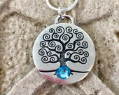 March Birth Month Celtic Silver TREE of LIFE Aquamarine Swarovski Necklace-Ireland Jewelry