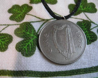 1994 Irish 1 POUND Coin Silver Birth Year Necklace Irish Punt-Ireland Jewelry