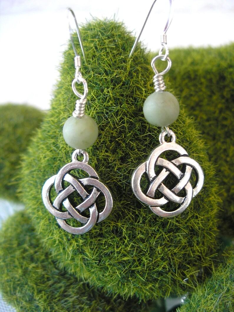 a50fb104716c6 CONNEMARA Marble Silver CELTIC Knot IRISH Earrings Irish Marble Earrings