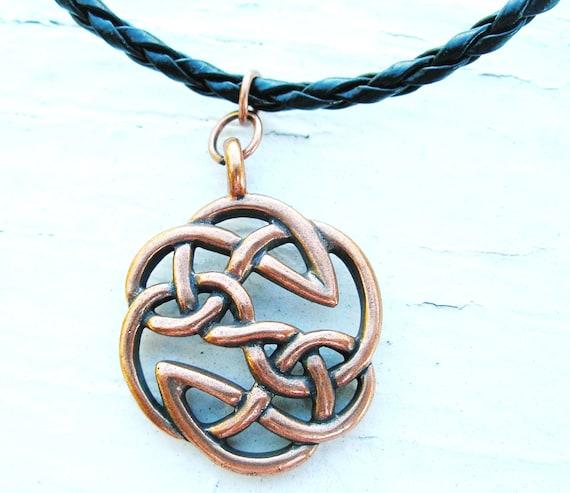 Irish Mens Warrior Antique Copper Celtic Knot Pendant Etsy