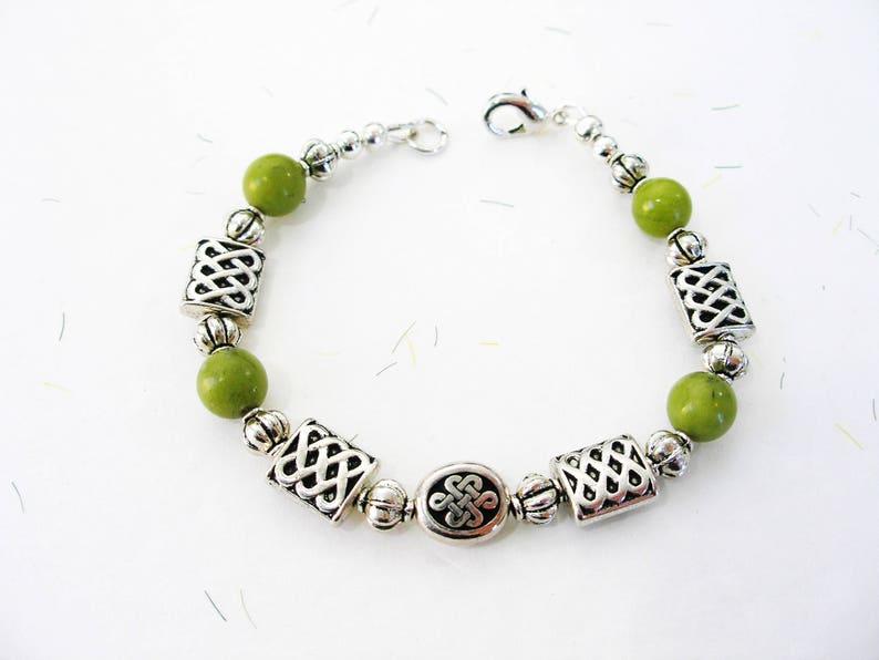 2ac81024b408e Authentic IRISH Green CONNEMARA Marble Silver CELTIC Knot Irish Friendship  Bracelet-Ireland Jewelry