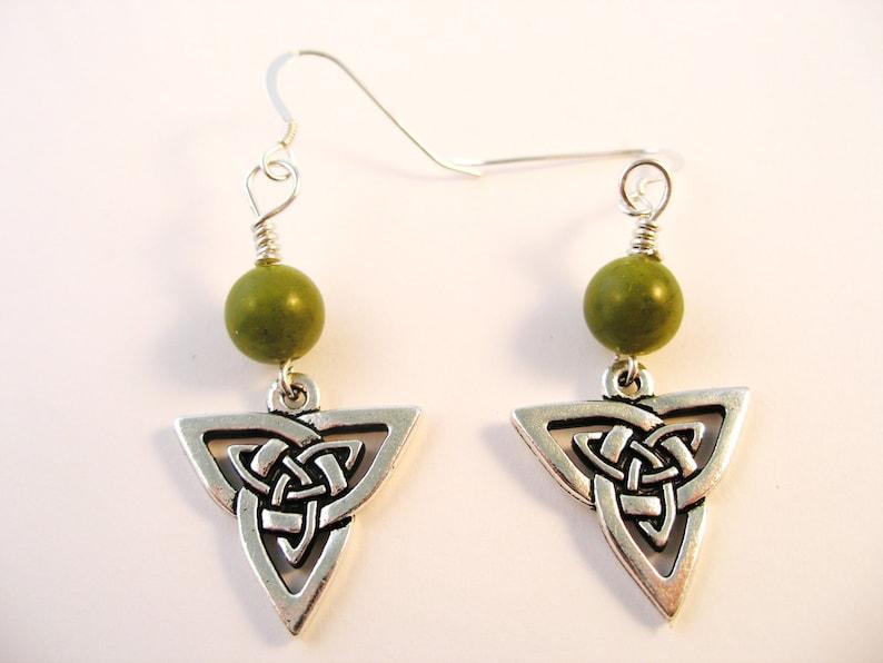 afdd5d2a53602 Silver IRISH TRINITY Knot Irish CONNEMARA Marble Ireland Dangle Earrings