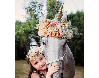 Unicorn Horn for Horses / Soft Plush Fabric Horn / Removable, Adjustable Straps / Fits Any Bridle or Halter / Pony or Horse Size