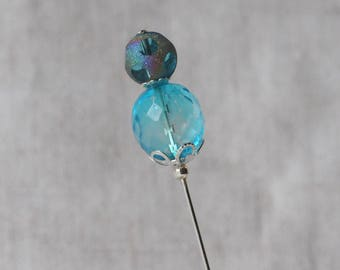 Teal Blue Stick Pin, Czech Faceted Glass, Disco Ball, Teal, Purple, Hat Pin, Lapel Pin, Hijab Pin, Silver Tone, H0387