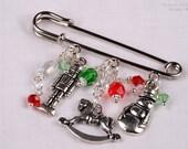 Christmas Pin, Winter Brooch, Scarf Pin, Sweater Pin, Shawl Pin, Charm Brooch KC1016
