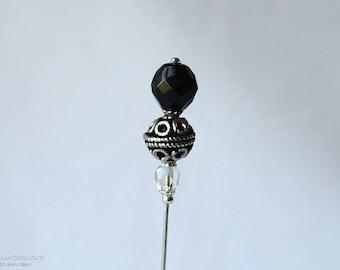 Silver, Black, Clear Czech Glass, Antique Silver Metal Bead, Bali Stye, Stick Pin, Hat Pin, Lapel Pin, Hijab Pin, H0349
