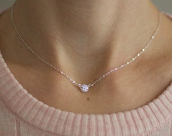Small Gold Necklace, Delicate Diamond Necklace, Dainty Necklace, Sterling Silver, Choker Necklace, Cubic Zirconia CZ, Bridesmaids Gift, N130