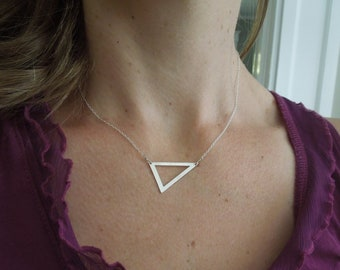 Simple Necklace, Geometric Necklace, Sterling Silver, Triangle Necklace, Gold Triangle Necklace, Minimalist Necklace, N158