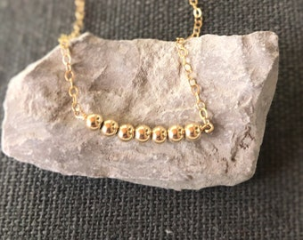 Gold Necklace, Dainty Necklace, Delicate Necklace, Sterling Silver Necklace, Beaded Bar, Simple Necklace