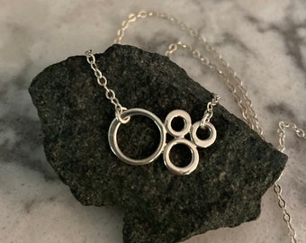 Silver Necklace, Sterling Silver, Dainty Necklace, Delicate Necklace, Circles Necklace, Cluster, Everyday Necklace, Simple Necklace
