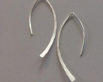 Gold Earrings, Minimalist Earrings, Simple Gold Earrings, Hoop Earrings, Open Hoops, Almond Earwire, Sterling Silver, Rose Gold