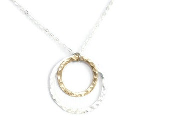 simple necklace, mixed metals necklace, hammered circles, mothers necklace, gold and silver, two tone, nesting circles, feminine, N118
