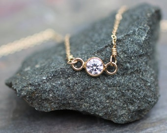 Delicate Gold Necklace, Dainty Necklace, Small Tiny, Bezel Set CZ, Small Diamond, Bridesmaids Gift, Layering Necklace, Simple, N01