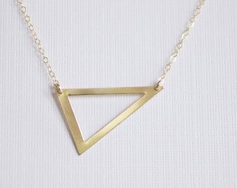 triangle necklace, silver triangle necklace, geometric pendant, statement necklace, unique necklace, modern necklace, minimalist, N05