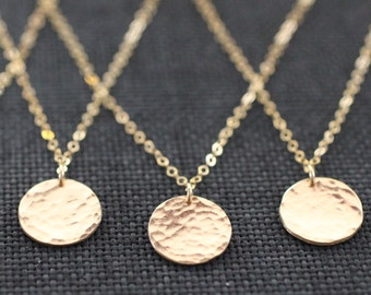 Delicate Necklace, Dainty Gold Necklace, Gold Necklace, Hammered Disc, Coin Necklace, Medallion Pendant, Gold Pendant, Rose Gold, N302