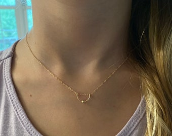 Dainty Necklace, Gold Necklace, Small Necklace, Arch Necklace, Sterling Silver, Delicate Necklace