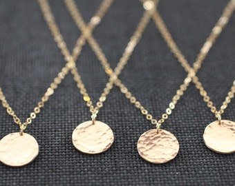 Delicate Necklace, Dainty Gold Necklace, Gold Necklace, Hammered Disc, Coin Necklace, Medallion Pendant, Gold Pendant, Rose Gold, N161