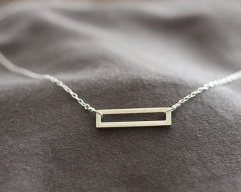Simple Silver Necklace, Sterling Silver Necklace, Rectangle Necklace, Delicate Silver Necklace, Dainty Necklace, Layering Necklace, N05