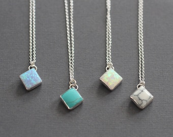 Silver Necklace, Dainty Necklace, Turquoise Necklace, Sterling Silver, Square Bezel, Square Turquoise, Pop of Color, Something Blue, opal,