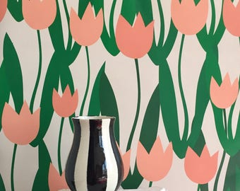 Petal Pusher Wallpaper in Peach / Removable / Assorted Lengths/ Perfect for Renters or Owners