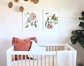 Removable Wallpaper / Pinstripe Floral Blush / Perfect for renters and DIY projects