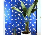 Removable Wallpaper // Shape Theory Blue and Peach // Perfect for renters and DIY projects