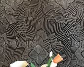 Removable Wallpaper / Pinstripe Floral Noir/ Assorted lengths / Perfect for Renters and owners