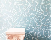 Venus Wallpaper in Blue / Removable Wallpaper / Adheres to walls and shelves and is removable